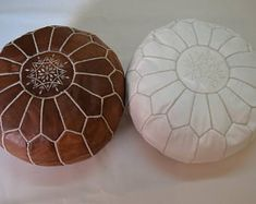 2 Moroccan leather sunned natural with oil & white poufs, ottoman floor round pouf
