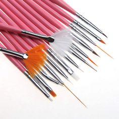 15PCS New UV Gel Acrylic Nail Art Draw Painting Brush Liner Pink Pen Set Tools