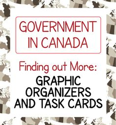 Government in Canada: Finding Our More 10 Graphic Organizers and 40 Task Cards is designed for students in upper elementary grades in Canada.  Ten topics are presented:  Our System of Government, Our Head of State, Our Head of Government, The House of Commons, The Senate, The Federal Government, Provincial and Territorial Governments, Municipal Governments, Elections, and Citizenship.