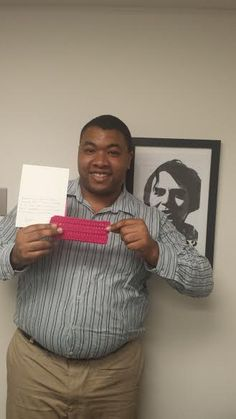 Secular #craftivist Erin from South Carolina sent in her brick today as well as a lovely note! Thank you Erin for adding to our wall of separation between church and state! Intern extraordinaire Antonio Thomas is seen holding the brick and the note. #KnitABrick