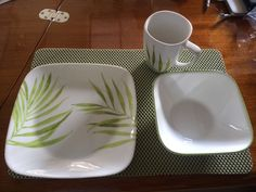 Corelle square dinnerware - perfect for onboard storage