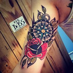 old school rose compass tattoo by Rique Corner! Solid Heart Tattoo Viersen…