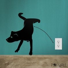 wall decals wall sticker art animal decal  - Naughty Dog Pissing  - 013. $25.00, via Etsy.