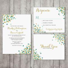 confetti wedding invitations | Confetti Wedding Invitation Suite Set #confetti #wedding #jade #pool # ...