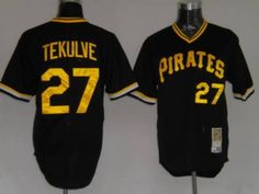 Mitchell and Ness Pirates #27 Kent Tekulve Embroidered Black Throwback MLB Jersey!$21.50USD
