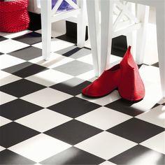 Våtrumsmatta Tarkett Aquarelle Designgolv Square Black & White