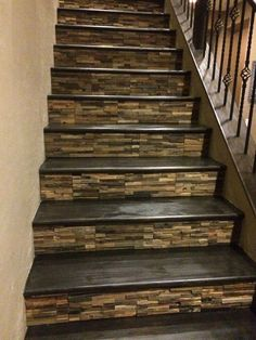 Home Remodeling Nice idea for the stairs . tiled with wooden treads. I'm in love with these tiled stairs! - Tile is a popular material for covering various parts of the house such as floors, walls, and stairs. Tiled Staircase, Staircase Remodel, Staircase Design, Stair Design, Staircase Ideas, Tile On Stairs, Stairs Tiles Design, Rustic Staircase, Open Stairs