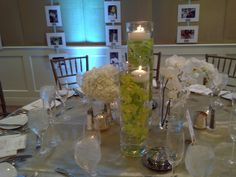 White phalaenopsis orchids, hydrangeas and green cymbidium orchids