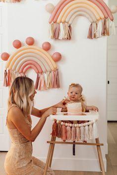 First Birthday Theme Girl, Rainbow First Birthday, 1st Birthday Parties, Baby Birthday Themes, 1 Year Birthday, 1st Birthday Photoshoot, Kids Birthday Themes, Birthday Gifts, Birthday Cake