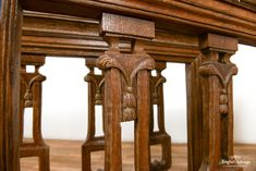 19th Century oak carved flower railings Railings, Leaf Design, Bar Stools, 19th Century, Hand Carved, Woodworking, Carving, Architecture, Antiques