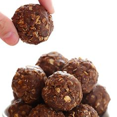 Chocolate Peanut Butter No-Bake Energy Bites (Naturally Sweetened) Recipe Desserts with oatmeal, coconut flakes, peanut butter, ground flaxseed, honey, unsweetened cocoa powder, chia seeds, vanilla extract