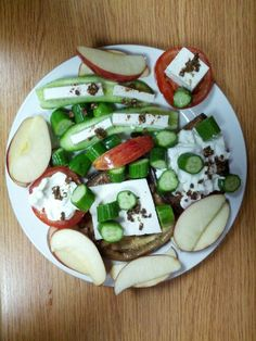 Sweet & Sour Healthy Mix: Grilled Eggplant Slices, Fresh Tomato Slices, Cucumber chunks, Red Apple Crescents, Healthy Labneh (Low-Sodium;Zero Percent Fat), Healthy White Cheese (Low-Sodium; Low Fat), Sprinkles of Trio Mix (Thyme, Sesame Seeds, & Olive Oil)