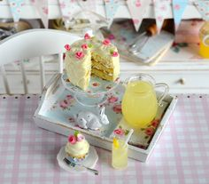 Miniature Lemon Cake with Lemonade on Shabby by CuteinMiniature, $36.00