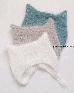 Шапка с ушками для малыша спицами. Детская шапочка с описанием