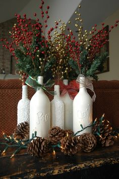 Inspiring White Bottle Hand Craft With Plant Branch Christmas Centerpiece Design / Furniture Excelent Christmas Centerpiece Most Decoration ...