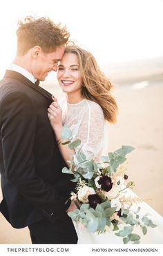We Love this Fun and Romantic Couple Photo | Photography by Nienke van Denderen | Styled Shoot | Wedding Gown by Inmaculada Garcia | Flowers by Judith Slagter