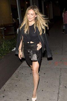 Hilary Duff wearing IRO Ashville Biker Leather Jacket in Noir, Chanel Metallic Boy Bag, Frame Denim Le High Leather Pencil Skirt and Alice + Olivia Dina Suede Pumps