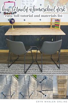 This easy to build homeschool desk is perfect for two kids with lots of workspace. The industrial vibe make it a fun place to work! #homeschooldesk #homeschoolroom