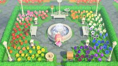 My rainbow park/garden ❤️ : AnimalCrossing Animals Crossing, Animal Crossing Wild World, Animal Crossing Guide, Animal Crossing Villagers, Rainbow Park, Flower Garden Layouts, Flower Garden Design, Rainbow Garden, Motifs Animal