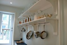 DIY pot rack in custom kitchen shelves. I have been coveting this pot rack for years! Diy Kitchen Shelves, Kitchen Rack, Kitchen Organization, Kitchen Storage, Kitchen Ideas, Laundry Shelves, Room Shelves, Open Kitchen, Kitchen Decor