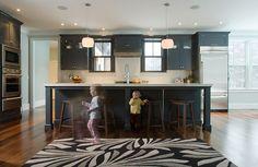 INTERIOR DESIGNER: Urban Dwellings, Tracy Davis   ARCHITECTURAL FIRM: Kevin Browne Architecture, Lead: Kevin Browne  LANDSCAPE ARCH. FIRM: Soren Deniord Design Studio, Lead: Soren Deniord  PHOTOGRAPHER: Darren Setlow  PORTFOLIO: Contemporary By Contrast  [kitchen, island, bar stool, counter stool, pattern, stainless steel fridge, double oven, pendant, backsplash, rug, interior design]