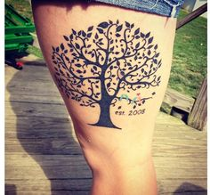 Family tree tattoo :) love it! But brown, with a textured trunk, fall colored leaves and black birds so i can add one more later. ;)
