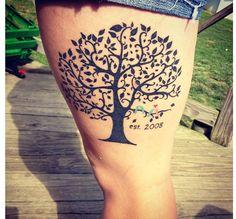 Family tree tattoo :) love the colored birds