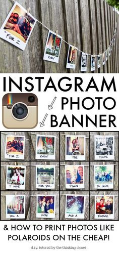 Instagram Photo Banner Tutorial & How to Print Photos Like Polaroids {on the cheap!} via thinkingcloset.com.  You won't believe how easy and inexpensive it is!