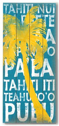 Tahiti Palm Yellow Vintage Beach Sign: Beach Decor, Coastal Home Decor, Nautical Decor, Tropical Island Decor & Beach Cottage Furnishings