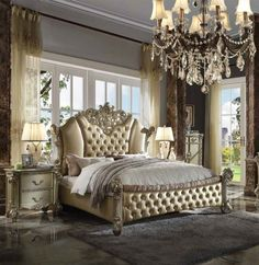 5 pc Vendome II gold patina finish wood and leatherette padded queen bedroom set. This set includes the Bed, Nightstand, Dresser, Mirror and Chest. Bed measures x x H. Royal Bedroom, Queen Bedroom, King Bedroom Sets, Home Bedroom, Master Bedroom, Bedroom Decor, Bedroom Ideas, Acme Furniture, Bed Furniture