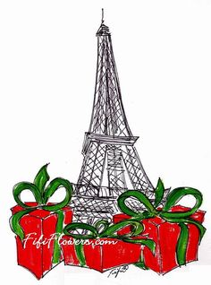 Red Packages under Eiffel by Fifi Flowers