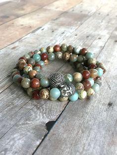 Buddha Yoga Jewelry / 108 Bead Mala Bracelet or Necklace / African Opal Jewelry for Women, Men