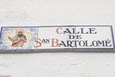 "Street sign in Almagro ""St Batholomew"" Street Spain"