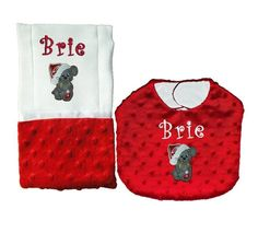 New Personalized Handmade Red Minky Christmas Mouse Bib and Burp Cloth Set #Handmade