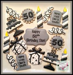 50th Birthday Decorated Sugar Cookies ~ www.facebook.com/sweettemptationsbynicole