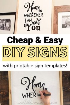 These DIY signs on canvas are easy to make and perfect for DIY home decor! Learn how to make signs on canvas with wood frames without power tools. Plus, find out how to do lettering for DIY signs with one simple and cheap tool! Canvas Letters, Diy Letters, Canvas Signs, How To Make Signs, How To Make Diy, Diy Wood Signs, Wall Signs, How To Make Canvas, Chalkboard Wall Bedroom