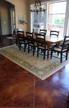 Stained Concrete In Limestone With Walnut Border Would Like To Replace Wood Floors W