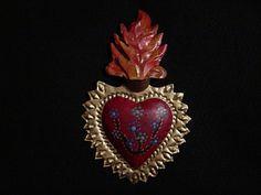 Painted Tin Sacred Heart - Mexican Folk Art