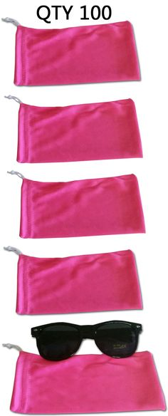 Eyeglass Cases: Qty 100 Pink Micro Fiber Sunglasses Pouch Case Bag Sleeve New Wholesale Bulk Lot BUY IT NOW ONLY: $30.0