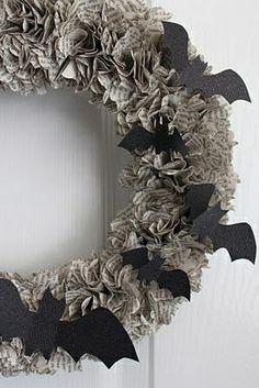 paper bat wreath