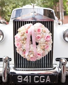 #Wedding #Day #Ideas #Car #Flowers - Wedding day car with floral decoration and bow