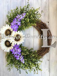 Front Door Wreath for Spring  White Sunflower by TheDoorNextDoor