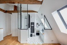 Cool Attic Design Ideas That Looks Cool 22 Attic Master Suite, Modern Master Bedroom, Minimalist Bedroom, Open Bathroom, Attic Bathroom, Bathroom Ideas, Attic Shower, Bathroom Plumbing, Upstairs Bathrooms