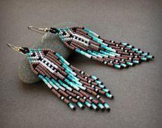 Seed bead fringe earrings Unique statement earrings Long boho