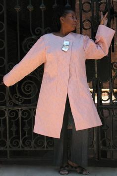 Pink (Vintage Fabric) Fall / Spring Coat by Gaskin Feurich Designs Althea Gaskin feurich Fashion Designer