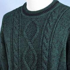Gant RUGGER Green Fishermans Cable Knit Hand Framed Crew Neck Sweater Mens L #GANT #Crewneck