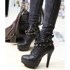 Freeship Punk High heels Ankle Boots boots Studded Platform Size35-40 -up Shoes Black Fashion boots