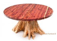Round Red Cedar Log Dining Table