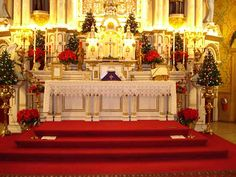 This is an altar at a Catholic Church, decorated for Christmas.