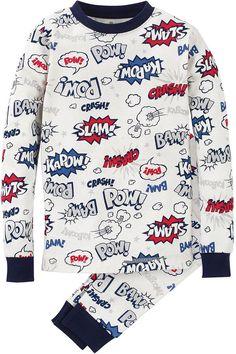 Petit Lem Comic-Script Cotton Two-Piece Long Pajama Set, White, 2-4 Original price: $20 - Sale price: $14